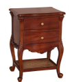 Louis Two Drawer Bedside with Rattan Shelf